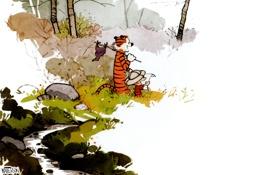 Картинка тигр, мальчик, комиксы, кельвин и хоббс