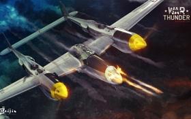 Обои небо, самолет, стрельба, Lockheed P-38 Lightning, военная, War Thunder, Gaijin Entertainment