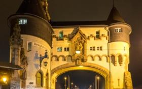 Обои Трабен-Трарбах, Рейнланд-Пфальц, ворота, ночь, башня, Германия, огни