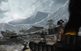 Картинка горы, дым, Tiger, танки, world of tanks, горит, экипаж