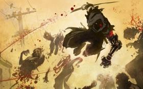 Обои оружие, провода, катана, монстры, битва, нежить, лэп