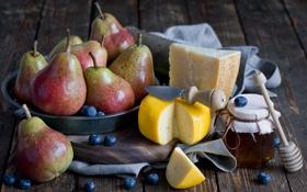 Обои сыр, мед, груши, голубика, пармезан