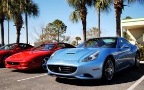 Обои Ferrari, California, суперкар, F355, Spider, красный