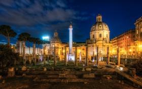 Обои ночь, город, фото, Италия, развалины, Rome, Trajans Forum