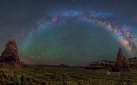 Обои звезды, горы, ночь, скалы, Юта, США, Млечный Путь