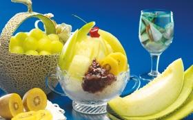 Обои киви, фрукты, десерт, дыня