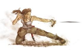Обои взгляд, волосы, рисунок, майка, арт, Tomb Raider, Lara Croft