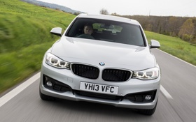 Обои машина, BMW, в движении, передок, Gran Turismo, Sport Line, 318d