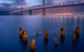 Обои мост, город, вечер, сан франциско