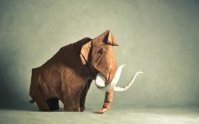 Картинка животное, коричневый, оригами, мамонт, brown, animal, клык