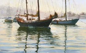 Обои вода, пейзаж, корабли, яхты, мачты, снасти, Jim Wodark