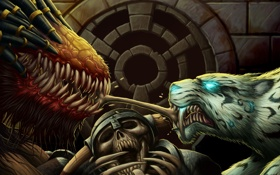 Картинка монстры, скелет, кость, World of Warcraft, дележ