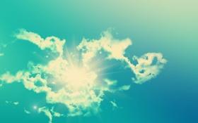 Обои небо, солнце, облака, свет