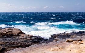 Картинка волны, пейзаж, природа, камни, океан