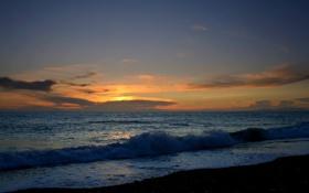 Обои закат, небо, вода, вечер, волны, море, пляж