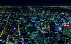 Обои ночь, город, огни, здания, панорама, Canada, небоскрёбы