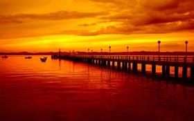 Обои Закат, Небо, Вода, Облака, Море, Вечер, Фото