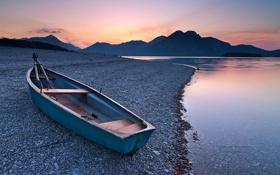 Картинка Michael Breitung, берег, Германия, Бовария, горы, лодка, озеро