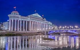 Обои ночь, мост, огни, река, парламент, Македония, Скопье