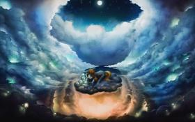 Обои облака, ночь, луна, мультфильм, пони