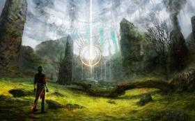 Обои лес, свет, камни, магия, путешественник, храм, парень