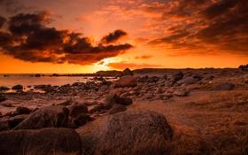 Обои море, закат, камни, берег, огненный
