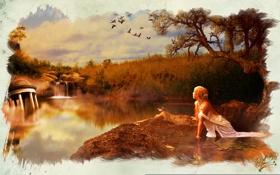 Обои обломки, девушка, птицы, озеро, дерево, арт, кувшинки