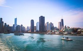 Картинка вода, city, река, здания, дома, небоскребы, USA