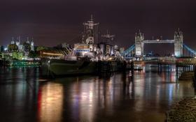 Картинка ночь, мост, река, корабль, Северная Ирландия, Белфаст