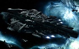Картинка туманность, звезды, космос, корабли, флот