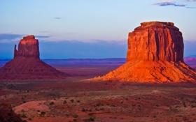 Обои долина монументов, облака, закат, скалы, небо, США, гора