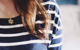 Картинка волосы, полосы, кулон, снежинка, полоски