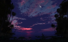 Обои закат, небо, луна