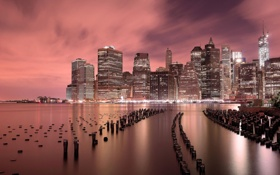 Картинка ночь, город, огни, река, здания, дома, Нью-Йорк