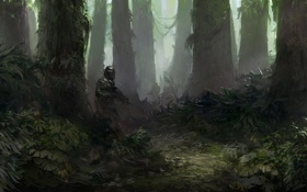 Обои лес, оружие, заросли, воин, арт, солдат, автомат