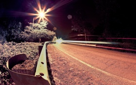 Картинка дорога, деревья, ночь, огни, фото, фон, обои