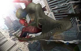 Обои человек, паук, ящер, нью йорк, The Amazing Spider-Man