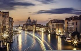 Картинка город, огни, река, дома, вечер, Италия, Венеция