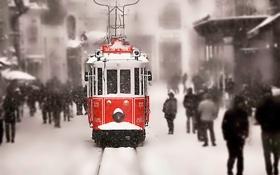Обои снег, люди, рельсы, Зима, трамвай