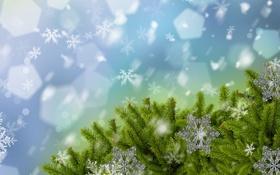 Обои снег, украшения, снежинки, иголки, ёлка