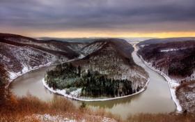 Обои холод, зима, осень, облака, снег, река, Германия