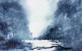 Картинка природа, картина, акварель