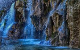 Картинка брызги, скалы, водопад, поток