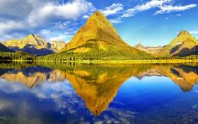Обои небо, закат, озеро, гора
