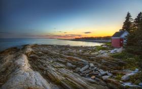 Картинка море, дом, камни, HDR, бухта, вечер