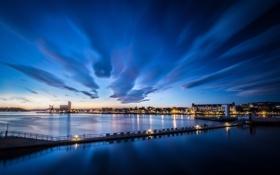 Картинка небо, облака, свет, ночь, мост, город, фонари