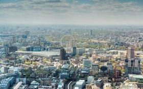 Обои англия, дома, лондон, колесо, панорама, london, улицы