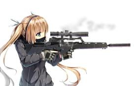 Обои взгляд, девушка, оружие, фон, аниме, арт, профиль