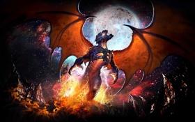 Обои металл, пламя, луна, рисунок, крылья, фэнтези, рок
