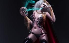 Обои череп, ведьма, магия, девушка, арт